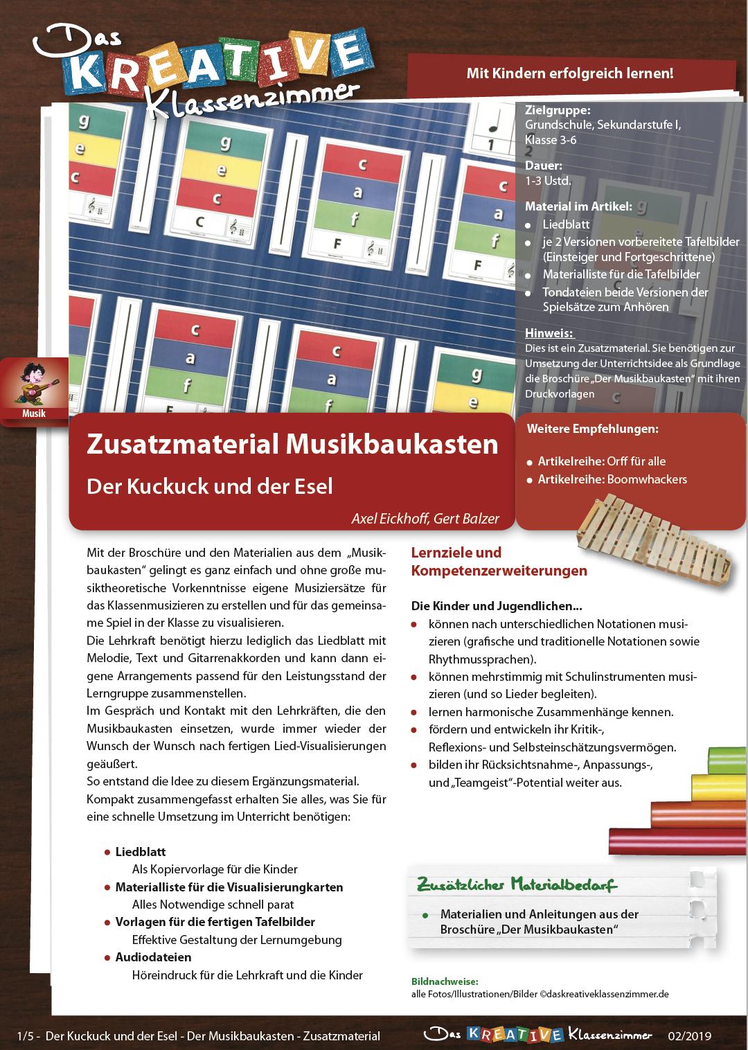 Der Kuckuck und der Esel - Zusatzmaterial Musikbaukasten