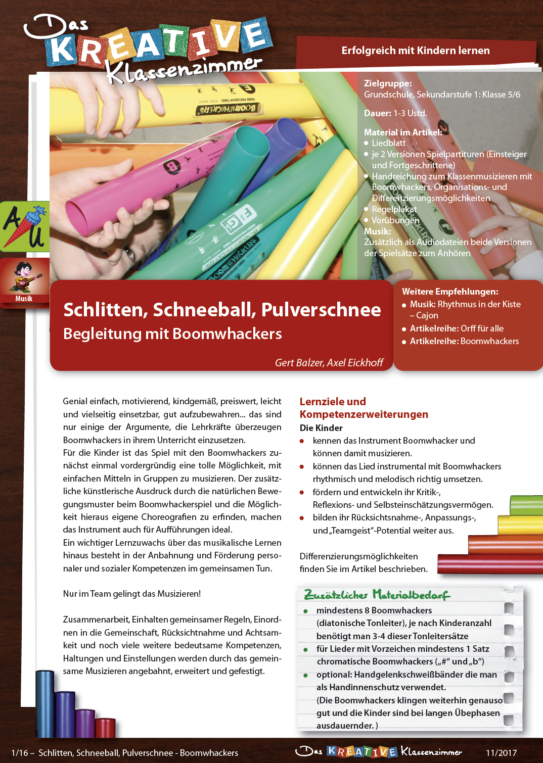 Schlitten, Schneeball, Pulverschnee - Boomwhackers