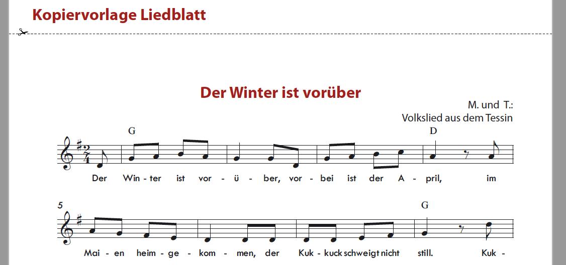 Der Winter ist vorüber - Zusatzmaterial Musikbaukasten