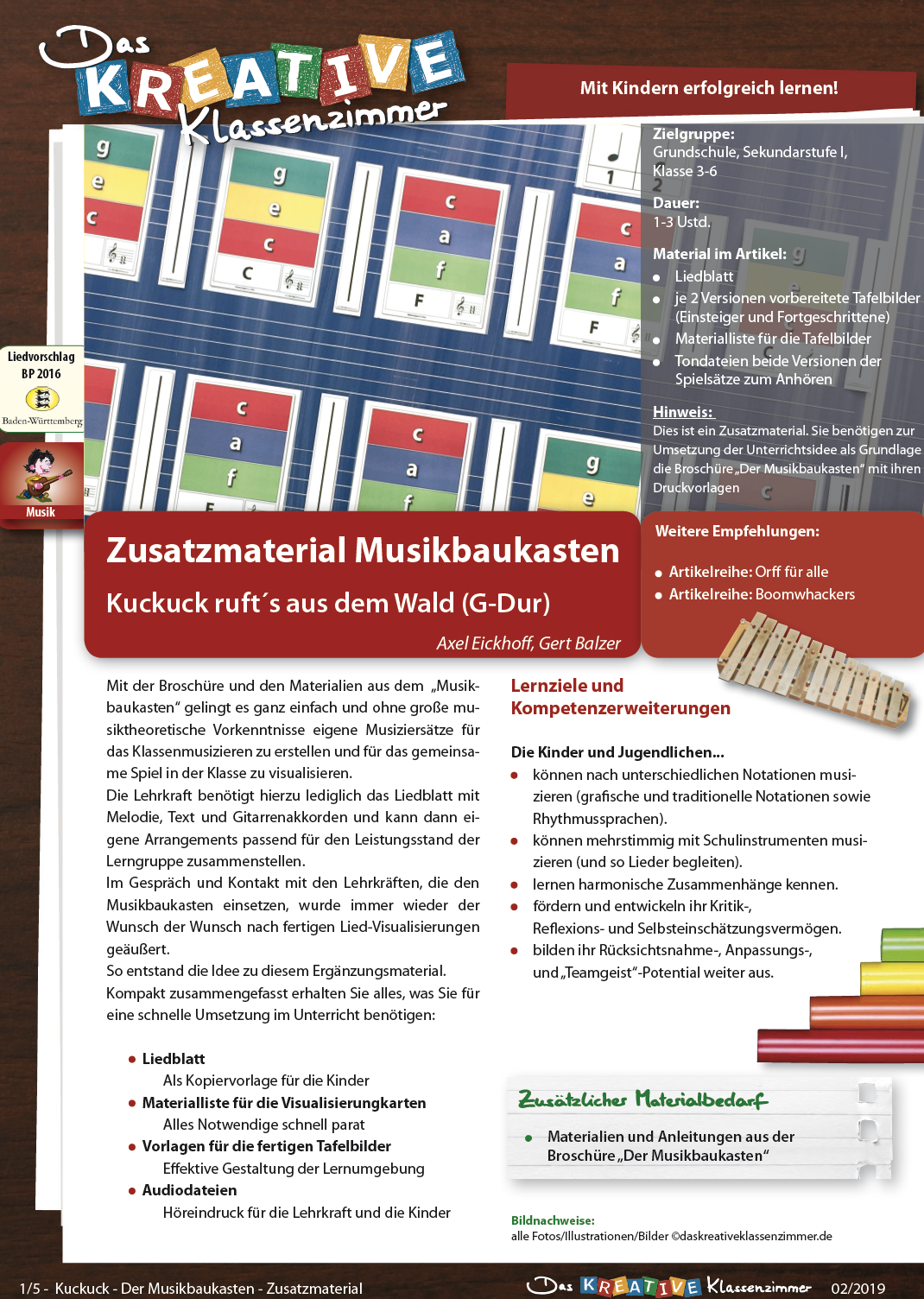 Kuckuck ruft's aus dem Wald - Zusatzmaterial Musikbaukasten