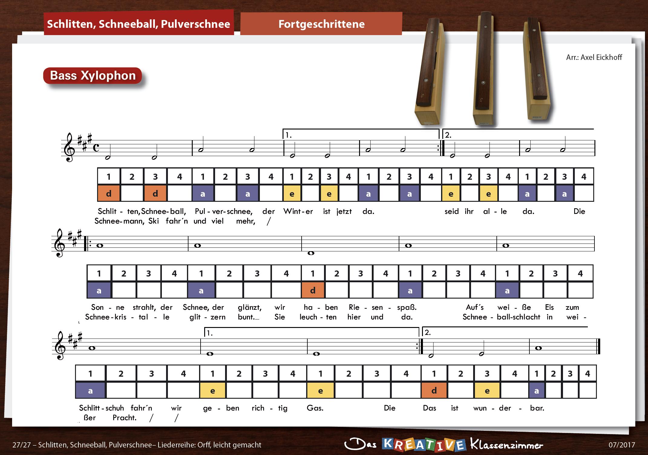 Schlitten, Schneeball, Pulverschnee - Orff