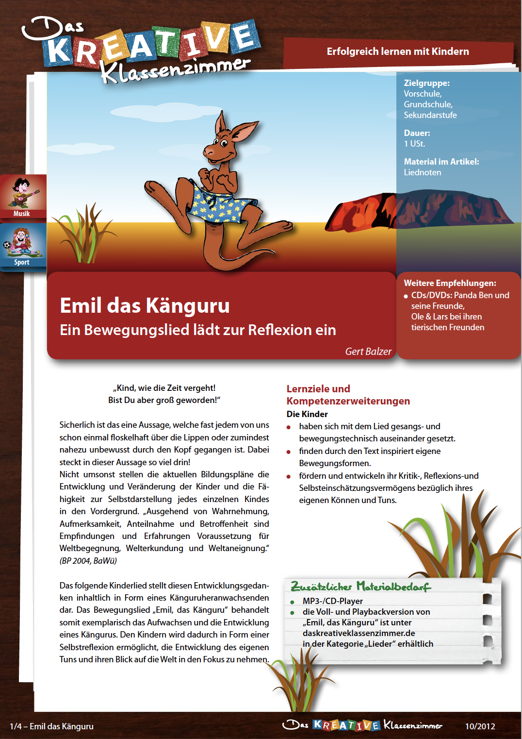 Emil das Känguru - Bewegungslied zur Selbstreflexion