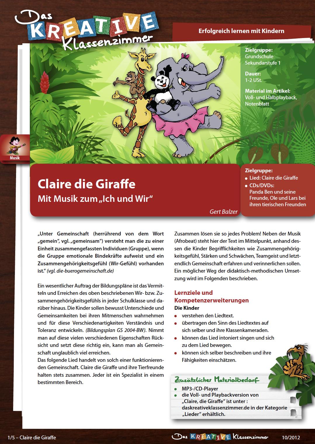 Claire die Giraffe - Mit Musik vom Ich zum Wir